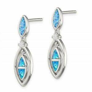 Blue Fire Opal Dangle Drop Earring's - Women's